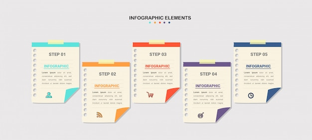 Creative infographic five steps template Premium Vector