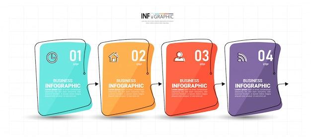 創造的なインフォグラフィック4ステップテンプレート Premiumベクター