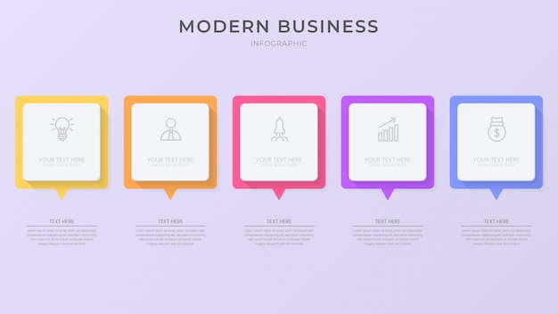 Creative infographic process element with icon and editable text Premium Vector