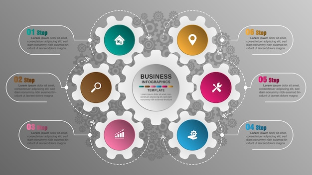Creative infographic template, 6 gear text boxes with pictograms. Premium Vector