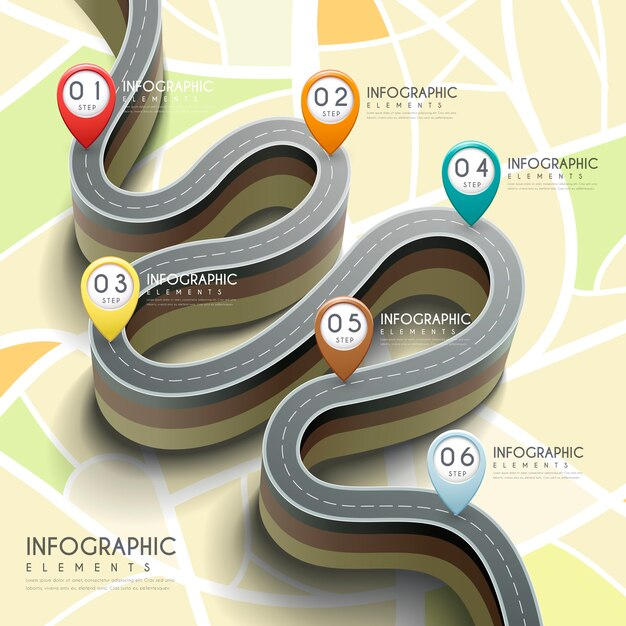3d 벤딩 도로 및 마커가있는 크리에이티브 인포 그래픽 프리미엄 벡터