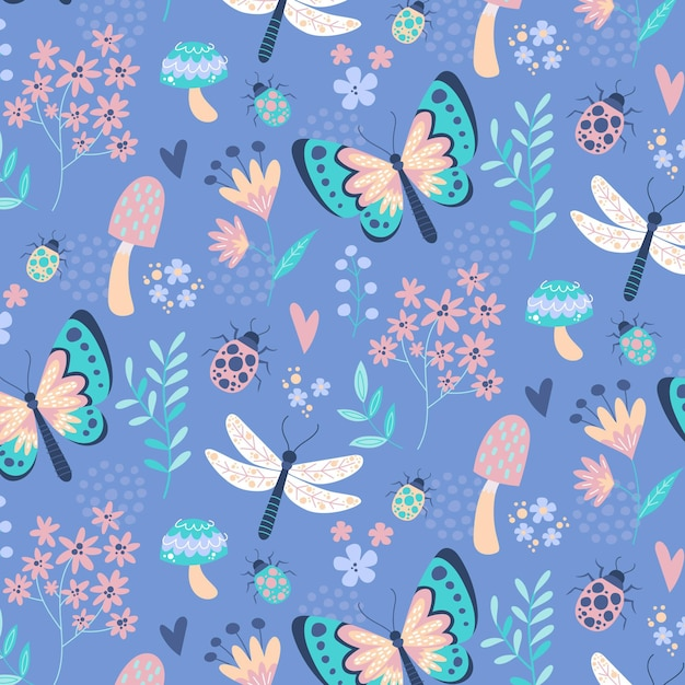 創造的な昆虫と花のパターンデザイン 無料ベクター