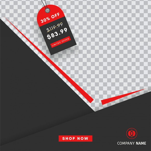 Creative instagram post sales template with a blank  abstract banner Premium Vector