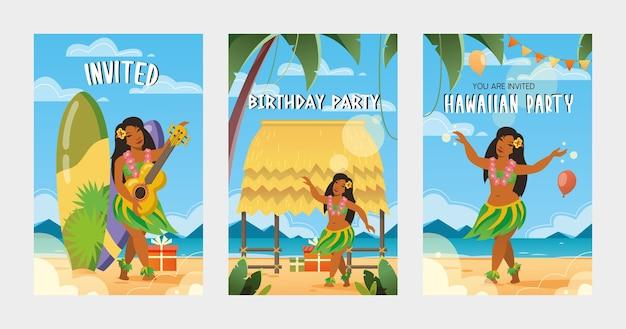 ハワイのパーティーのベクトルイラストへの創造的な招待状。伝統的なハワイの要素 無料ベクター