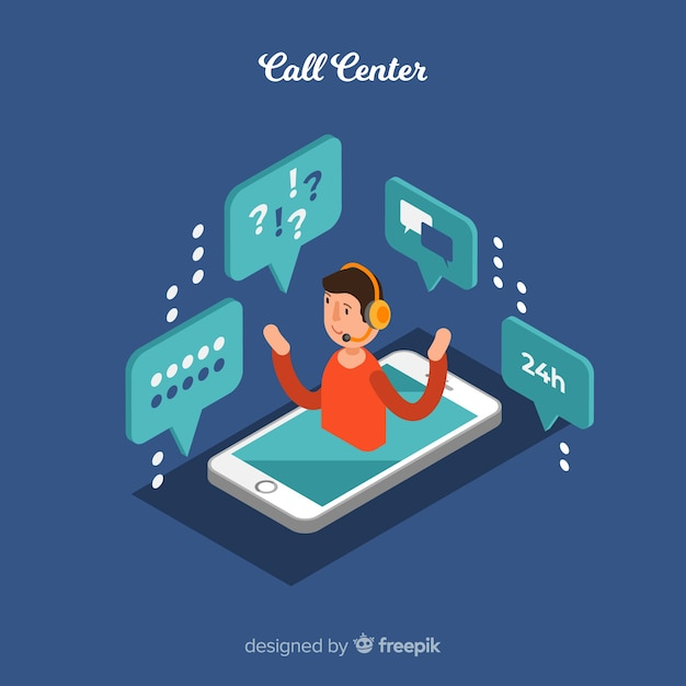 Creative isometric call center concept Free Vector