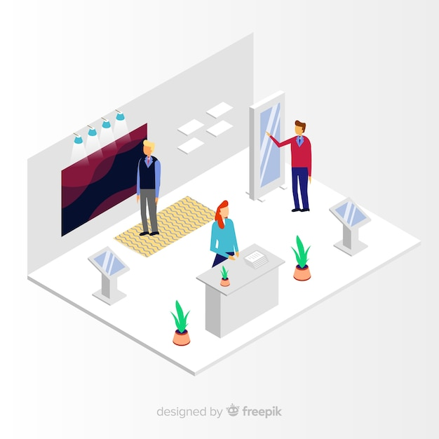 Exhibition Stand Free Vector : Creative isometric stand exhibition vector vector free download