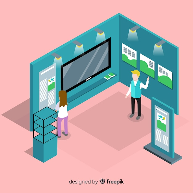 Creative isometric stand exhibition Free Vector