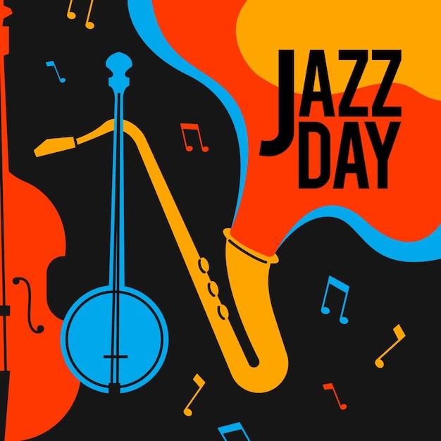 Творческий день джаза в плоском дизайне Бесплатные векторы