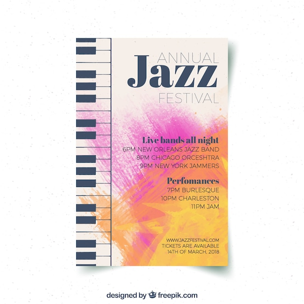 Creative jazz music party flyer Vector   Free Download