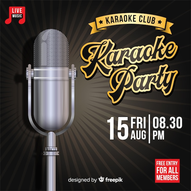 Creative karaoke party banner template Free Vector