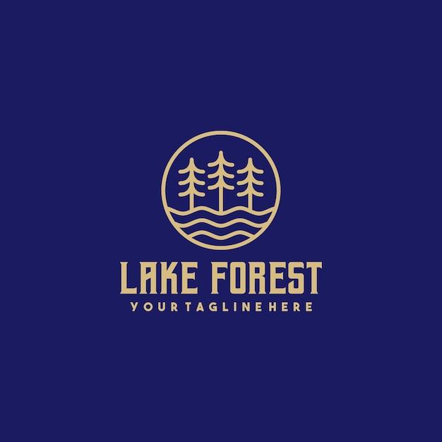 Логотип creative lake forest Premium векторы