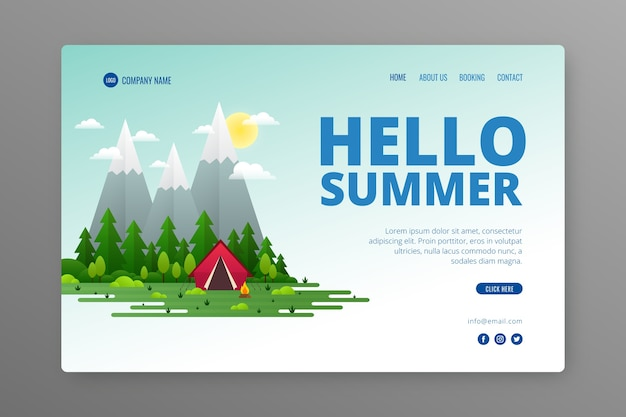Creative landing page with summer illustration Free Vector