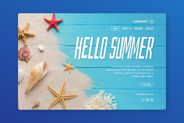 Creative landing page with summer photo Free Vector
