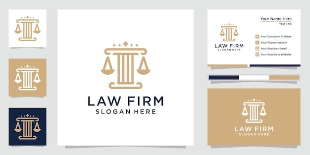 Креативный логотип юридической фирмы и визитная карточка Premium векторы