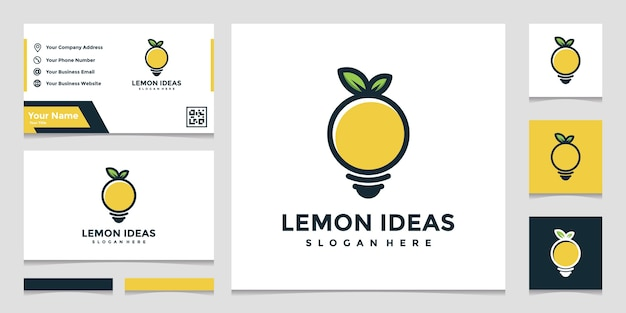 フルカラーと名刺デザインの創造的なレモンのロゴのアイデア Premiumベクター