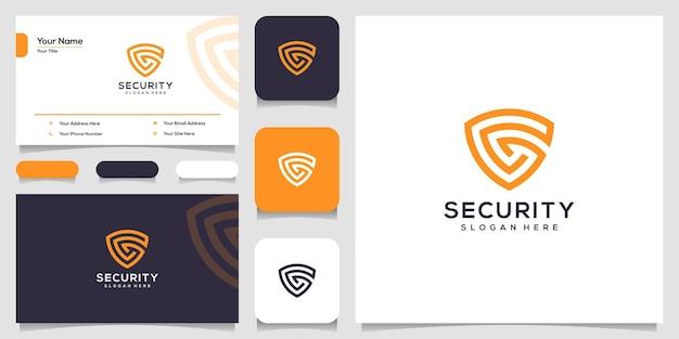 盾の概念のロゴのデザインテンプレートと名刺のデザインとクリエイティブな手紙g Premiumベクター