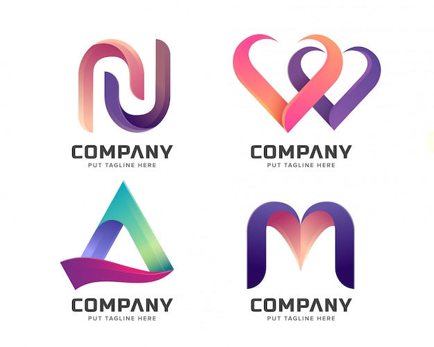 Creative letter initial logo collection Premium Vector