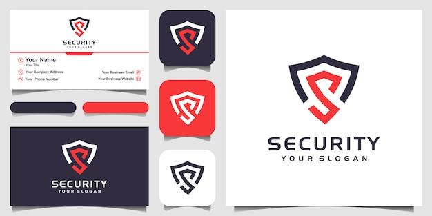 Креативная буква s shield concept шаблоны дизайна логотипа и дизайн визитной карточки Premium векторы