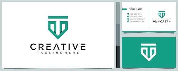 Creative letter t logo  concept and business card premium Premium Vector
