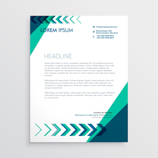Creative Letterhead Design With Arrow In Green And Blue