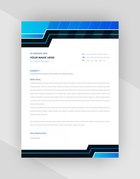 Free Vector Creative Letterhead Template Design With Abstract Style