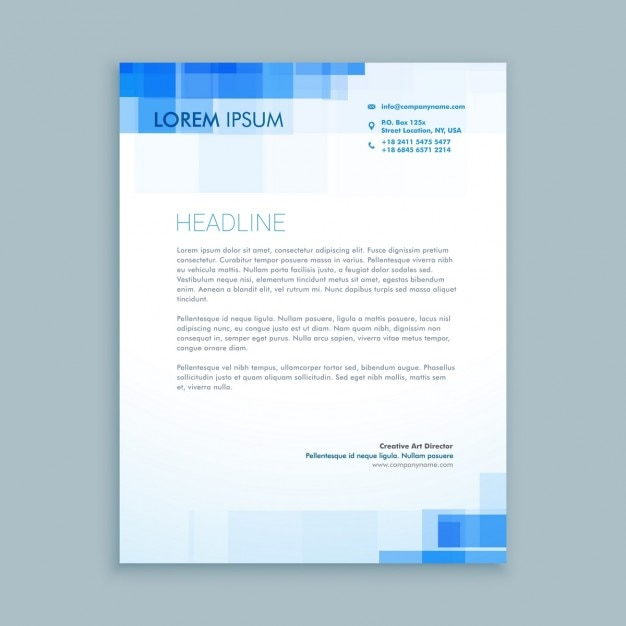 A Creative Corporate Letterhead For Dealing Business With: Creative Letterhead With Blue Shapes Vector