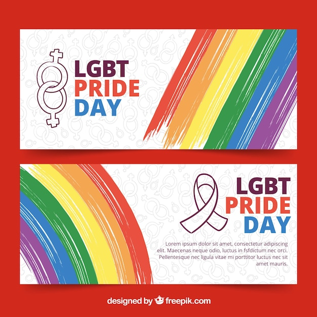 Creative lgbt pride banners Free Vector