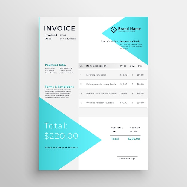 Creative Light Blue Invoice Template Design Vector Free Download