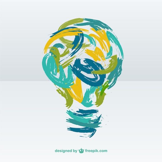 Creative light bulb made of brush strokes Premium Vector