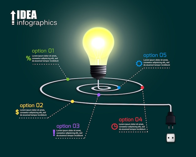 Creative light bulb with options Free Vector