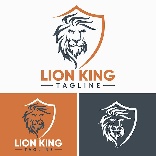 Creative lion logo templates Premium Vector
