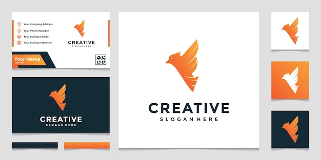 Creative logo letter f combined with bird and business card Premium Vector
