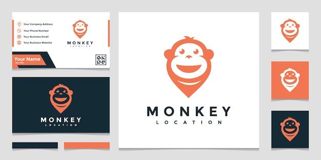 名刺でクリエイティブなロゴの猿の場所 Premiumベクター