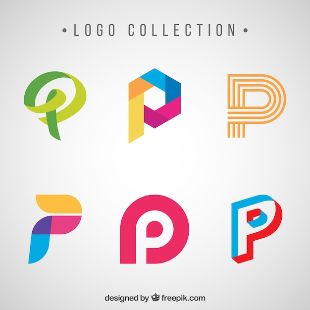 creative logos of letter p pack vector free download