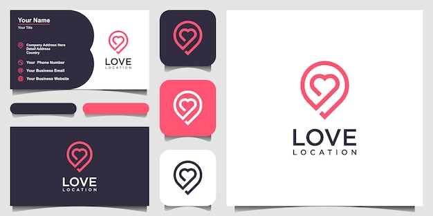 Creative love location  with heart and map marker.   template and business card Premium Vector