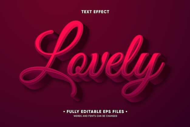 Creative lovely text effect Free Vector