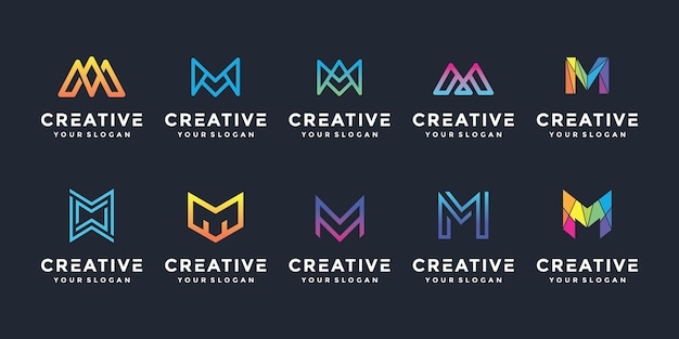 Creative m letter logo icon set for luxury business Premium Vector