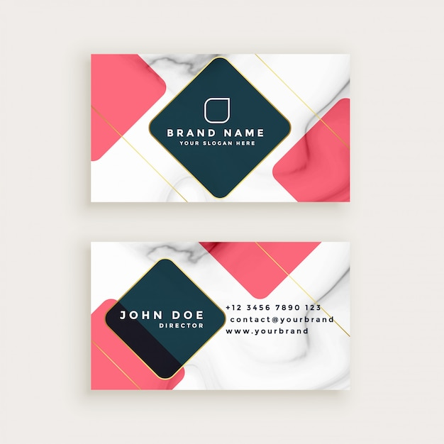 Creative marble texture business card design Free Vector
