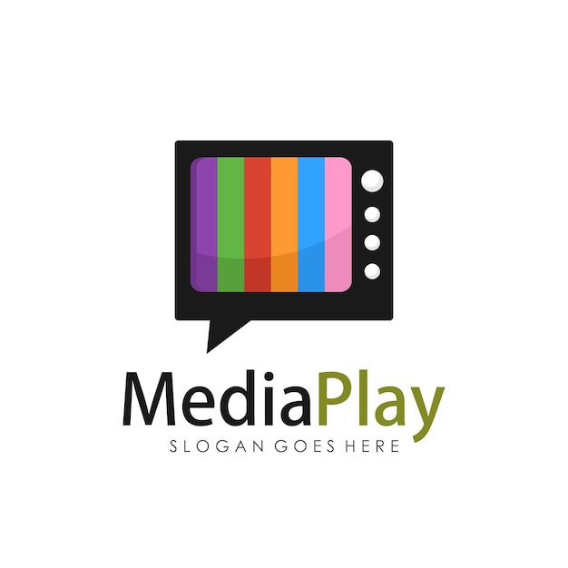 creative media television logo design template vector