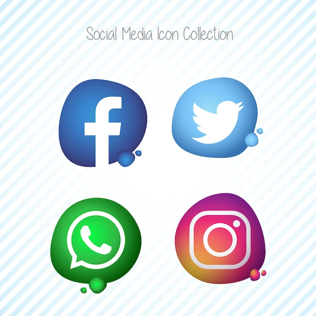 Creative Memphis Fluid Social Media Icons Set Free Vector