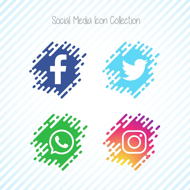 Creative memphis social media icon set Free Vector