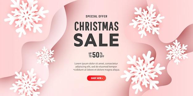 Творческий состав с рождеством с 3d бумажные снежинки и формы жидкой волны на нежно розовом фоне с местом для текста. Premium векторы