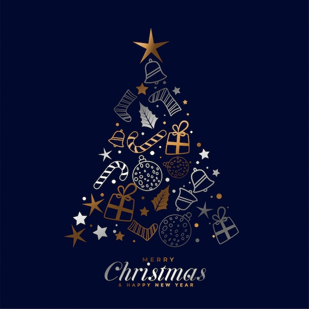 Creative merry christmas festival card with decorative elements Free Vector