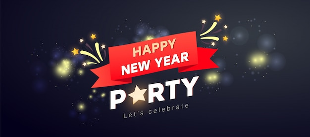 Creative merry christmas party  with firework, frame and text on a dark . Premium Vector