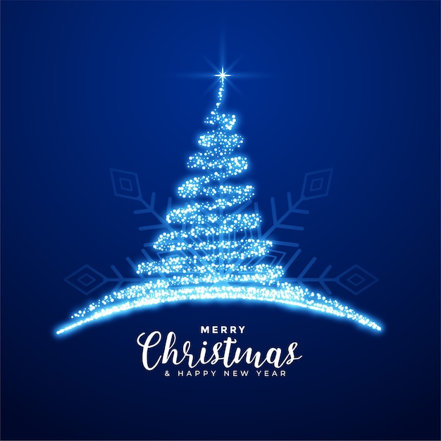 Creative merry christmas sparkling blue tree background Free Vector