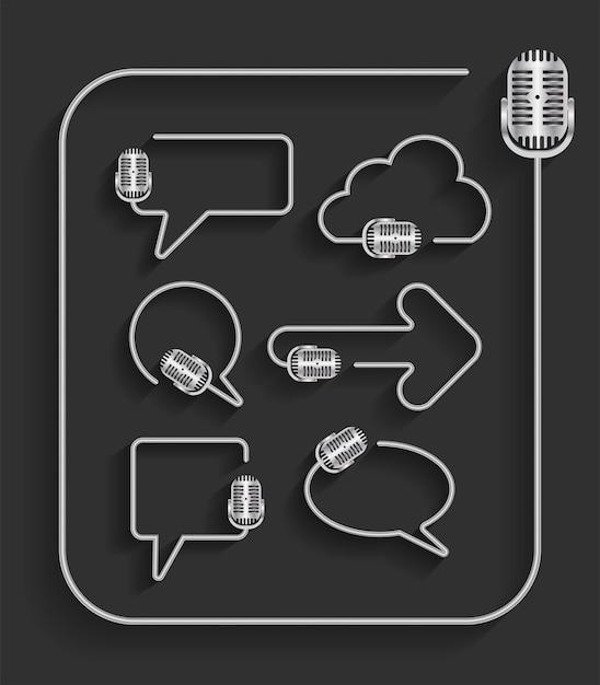 Creative microphone in shape of speech bubbles idea concept Premium Vector