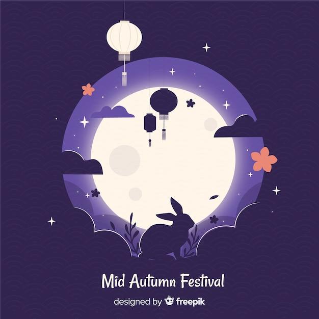 Creative mid autumn festival background Free Vector