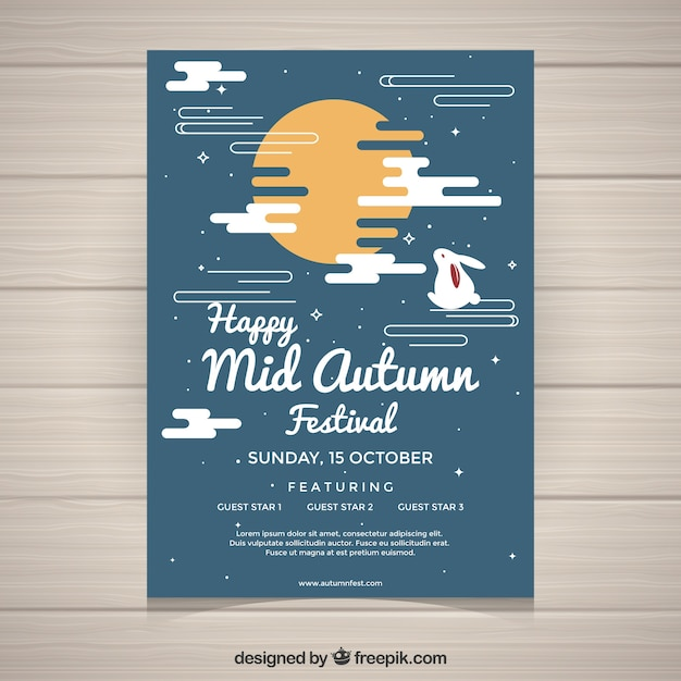 Creative mid autumn festival poster Free Vector
