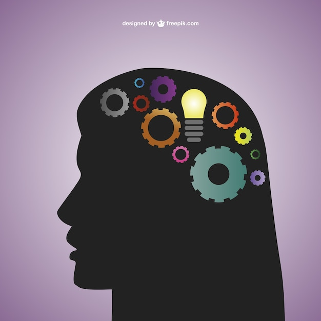 Creative mind with a bulb and gears in her head Free Vector