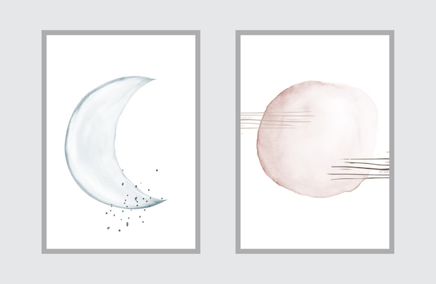 Creative minimal art with watercolor hand painted for wall art collection. Premium Vector